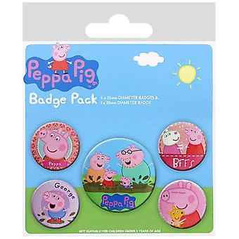PEPPA PIG Pack of Official Badges 5 Pin Badge Set