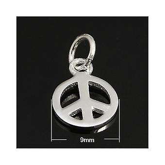 1 x Silver 925 Sterling Silver 9mm Peace Sign Charm/Pendant ZX20020
