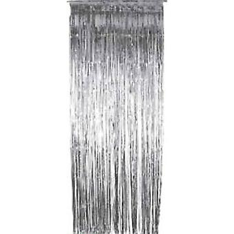 Foil Slashed Curtains Silver - Thin Slash