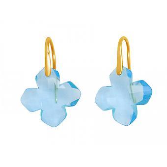 Gemshine - ladies - earrings - 925 silver plated - blue topaz - blue - GEM - 2.5 cm