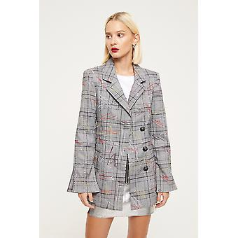 Cubic Check Embroidered Blazer