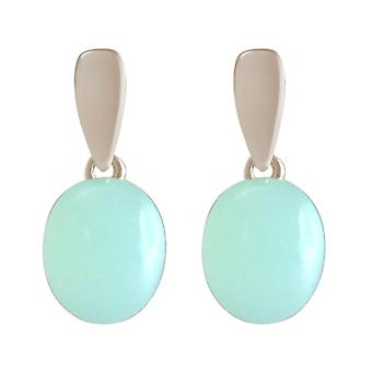 GEMSHINE ladies earrings 925 Silver, gold plated or rose with sea-green chalcedony gemstone earrings - sustainable quality jewelry made in Spain