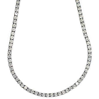 Pharaoh Necklace Platinum Plated CZ Round Cut 4mm