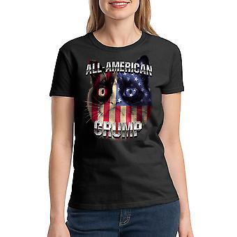 Grumpy Cat All American Grump Women's Black Funny T-shirt