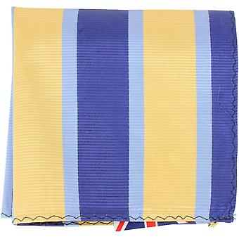 Knightsbridge Neckwear Striped Silk Pocket Square - Yellow/Blue