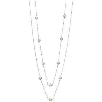 Débuts des Station perle d'eau douce collier - blanc/argent