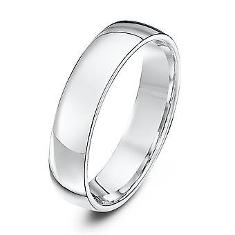 Star Wedding Rings 9ct White Gold Light Court Shape 5mm Wedding Ring