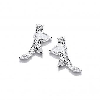 Cavendish French Silver and Cubic Zirconia Pyramid Climber Earrings