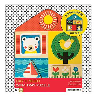 Petit Collage Day & Night Two-Sided Wood Tray Puzzle