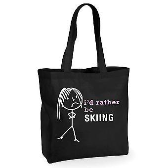 Damen, die ich lieber Skifahren würde schwarz Baumwolle Shopping Bag