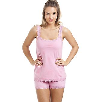 Camille roze katoen kort en Vest pyjama's Set