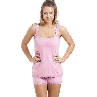 Camille Pink Cotton Short And Vest Pyjama Set