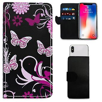 Premium High-Quality Pink Butterfly Design Printed PU Leather Wallet Case for Apple iPhone 5s