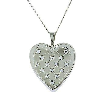 TOC Sterling Silver Quilted CZ Set Heart Locket Necklace 18