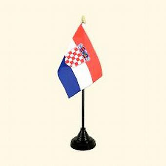 Croatia Table Flag with Stick and Base