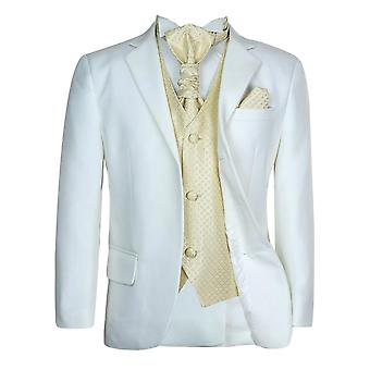 Boys New 5 Pc Ivory & Gold Wedding Cravat Suit Pageboy Prom Suit