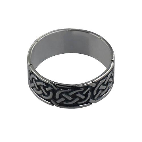 Silver oxidized 8mm Celtic Wedding Ring Size Z