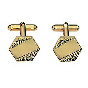 Hard Gold Plated 18x18mm hexagonal hand engraved Cufflinks
