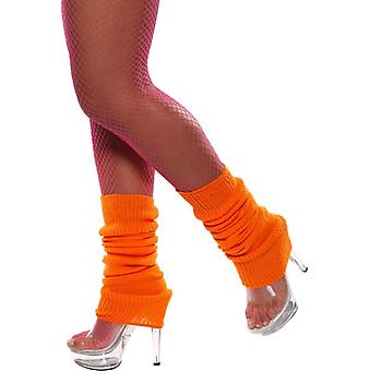 Womens oranje 80s beenwarmers Fancy Dress accessoire