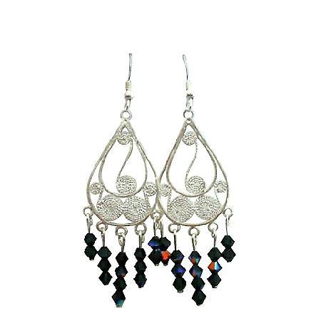Black Crystal Chandelier Silver 92.5 Frame Swarovski Crystal Earrings
