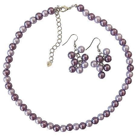 Lilac Necklace Set Bridal Bridesmaid Wedding Affordable Jewelry Set