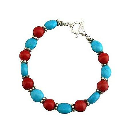 Handmade Flat Autumn Oval Turquoise Coral Round Faceted Beads Bracelet