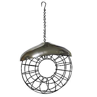 Naturalezas mercado BF033 acero inoxidable Metal sebo grasa bola rosquilla en forma de alimentador de aves silvestres
