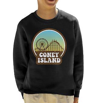 Coney Island Retro Sunset Kid's Sweatshirt
