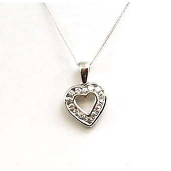 Toc 9Ct White Gold Cz Heart Pendant on 18 Inch Fine Gold Chain