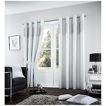 Fuel Pleated Panel Fully Lined Pair Fancy Curtain Eyelet Ring Tops With Tie Back