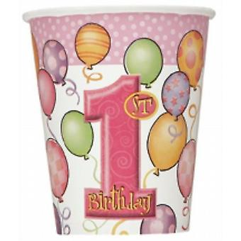Disposable Party/Picnic First Birthday Girl 9Oz Paper Glasses/Cups  8/Pack
