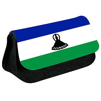 Lesotho Flag Printed Design Pencil Case for Stationary/Cosmetic - 0096 (Black) by i-Tronixs