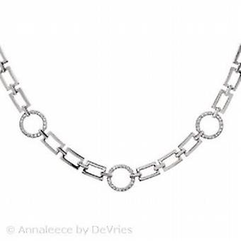 Annaleece Silvertone Linked 16 Inch Necklace Set With Swarovski Elements