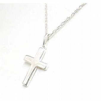 TOC Sterling Silver Small Cross Pendant Necklace 18