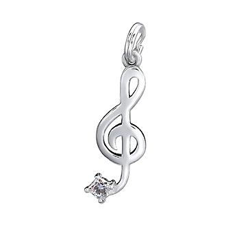 Cubic Zirconia and Sterling Silver Treble Clef Charm