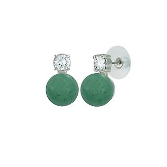 Eternal Collection Eternity Aventurine & CZ Silver Stud Pierced Earrings
