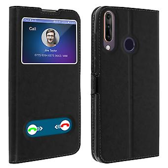 Double window flip standing case for Wiko View 3, TPU shell - Black
