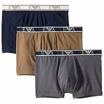 Emporio Armani Logo Stretch Cotton 3-Pack Boxer Brief, Grey / Marine / Khaki Green, Large