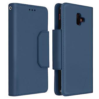 Magnetic Detachable Wallet Folio Case for Samsung Galaxy J6 Plus - Dark Blue