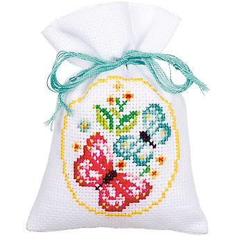 Roses And Butterflies Bags On Aida Counted Cross Stitch Kit-3.25