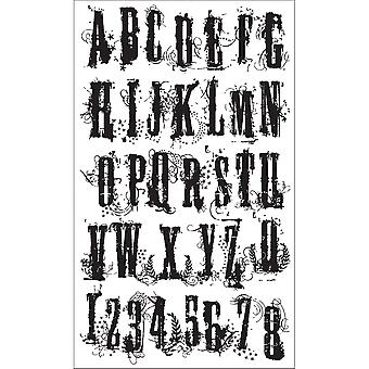 Tim Holtz Cling Rubber Stamp Set rancune Alphabet Cms008