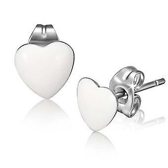 Urban Male White Resin & Stainless Steel Men's Heart Stud Earrings 7mm