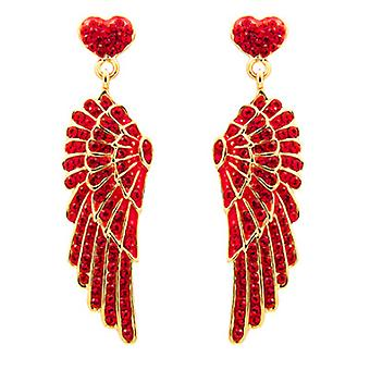 Butler and Wilson Red Crystal Wing and Heart Earrings