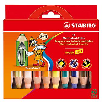 STABILO Woody 3 in 1 Fall-10 Farben