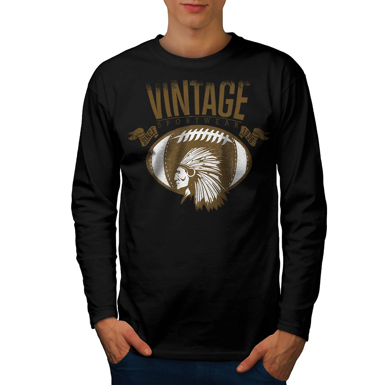 Red Indian Face Sport Vintage Men Black Long Sleeve T-shirt | Wellcoda