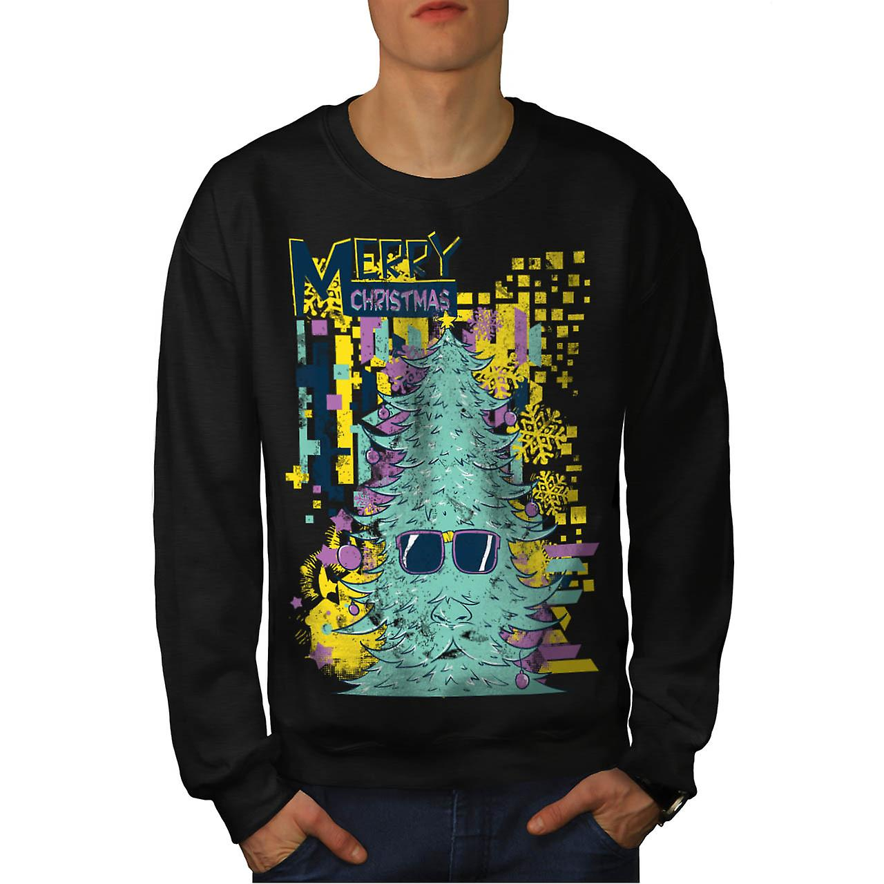 Merry Hipster Christmas Men Black Sweatshirt | Wellcoda