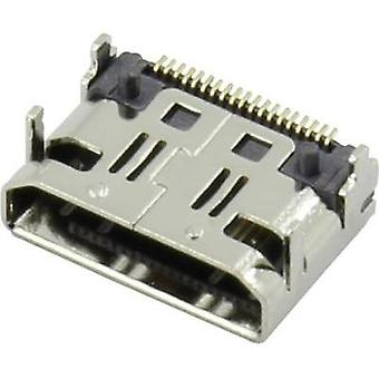 HDMI connector Socket, horizontal mount Silver Attend 206G-SXAN-R01 1 pc(s)