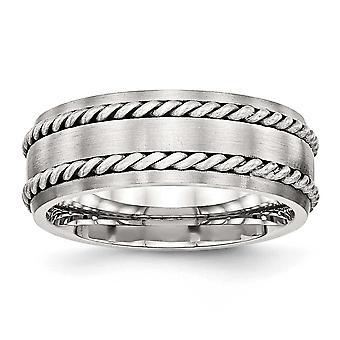 8,2 mm rustfrit stål børstet med sølv dobbelt Twist Inlay Ring - størrelse 12,5