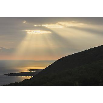 Hand of Gold Lighting over pali (cliff) on Kealakekua Bay Kona Island of Hawaii Hawaii United States of America PosterPrint