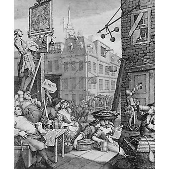 Beer Street London History of Alcoholism 1751 William Hogarth Poster Print